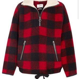 Isabel Marant red lumberjack sweater jacket